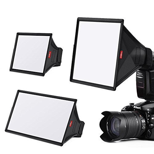 TYCKA Flash Softbox difusor Kit (Universal, Plegable) Incluyen 15 x13cm, 23 x 18cm, 33 x 20cm para Nikon, Canon, Sony, yongnuo y Otros Flash DSLR